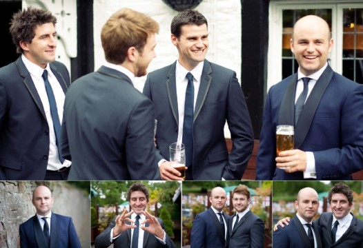 Groomsmen Laughing, having a pint, Royal Oak Appleby, michael and helen, album layout