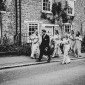 oxfordshire wedding photography bridal party walking
