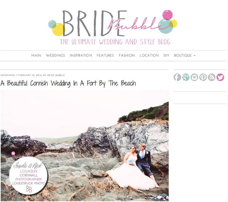 BrideBubble Wedding Feature on Cornwall Seaside Beach Wedding