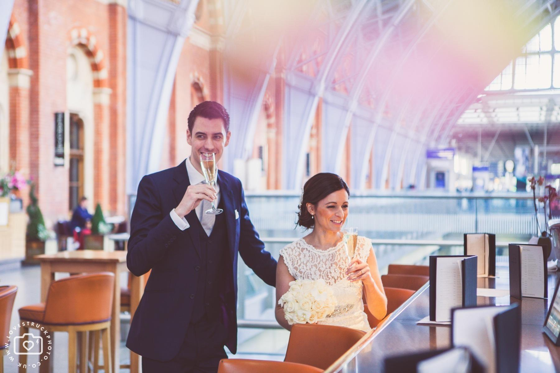 London St Pancras Hotel Wedding, London Underground Wedding Photos