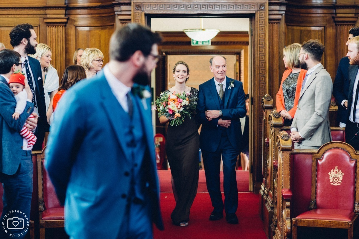 Islington town hall wedding, quirky wedding photography