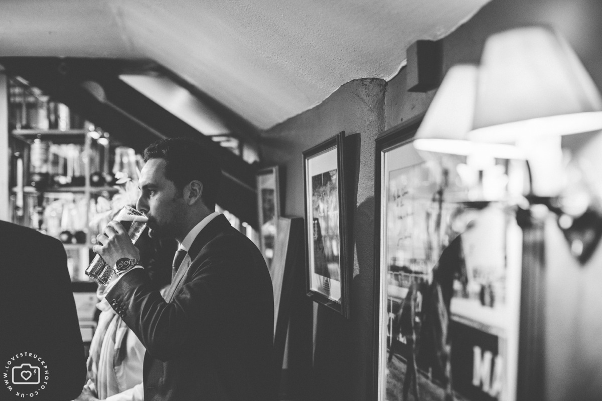 cottswolds wedding cripps barn, quirky wedding photography, The Hare and Hounds Groom Preps
