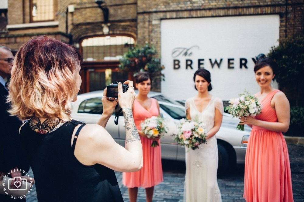 The Brewery London Wedding Photography, rock n roll wedding, quirky wedding in london, bridesmaids in The Brewery London