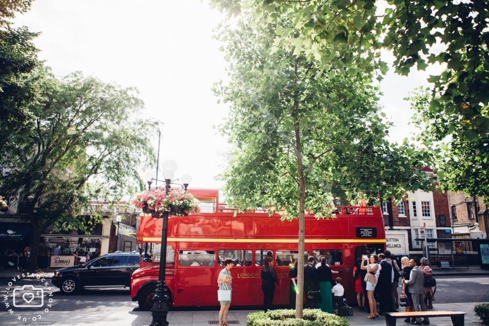 Islington Town Hall Wedding, Rock N Roll Wedding, alternative london wedding, islington town hall wedding ceremony photos, vintage red london bus