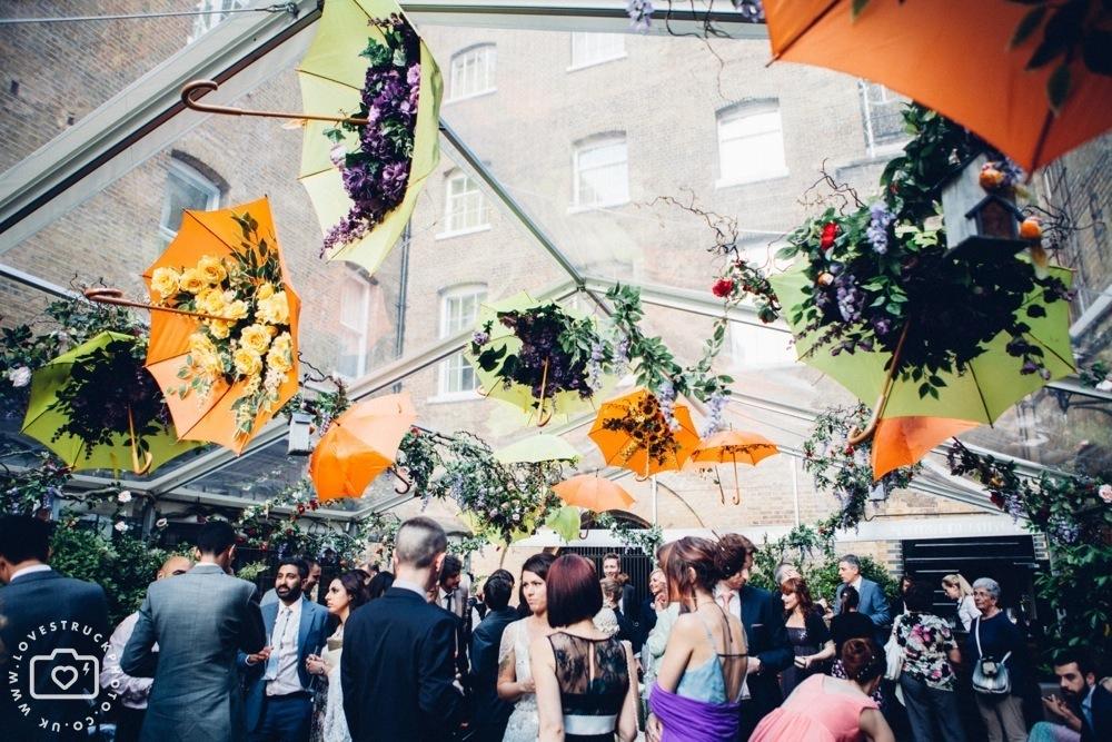 The Brewery Alternative Wedding, quirky wedding montcalm hotel london, alternative wedding couple, tattooed bride photos, barbican london wedding