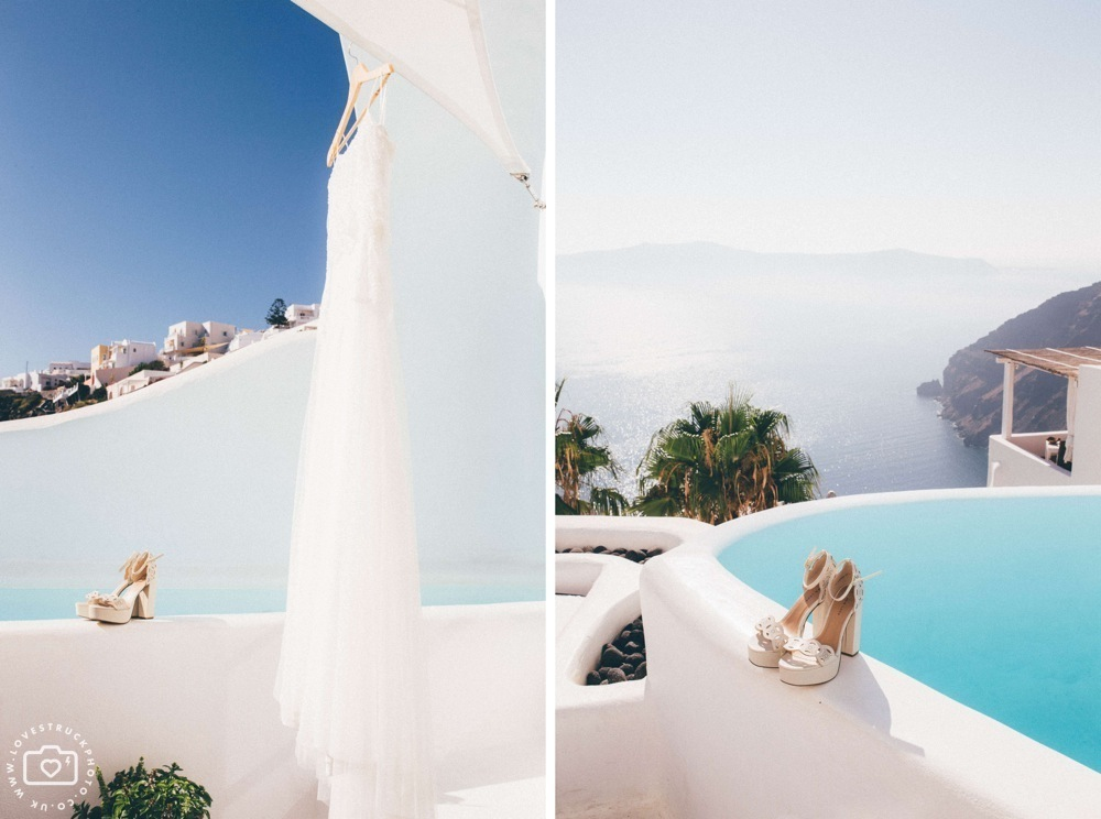 Dana villas Santorini Wedding, vintage santorini wedding, bridal preps santorini, destination wedding photographer, fira wedding santorini