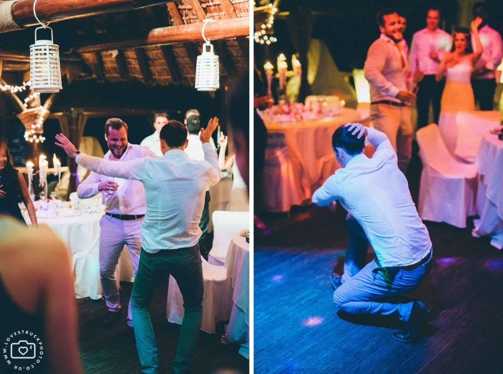 Theros wave bar santorini wedding dancing