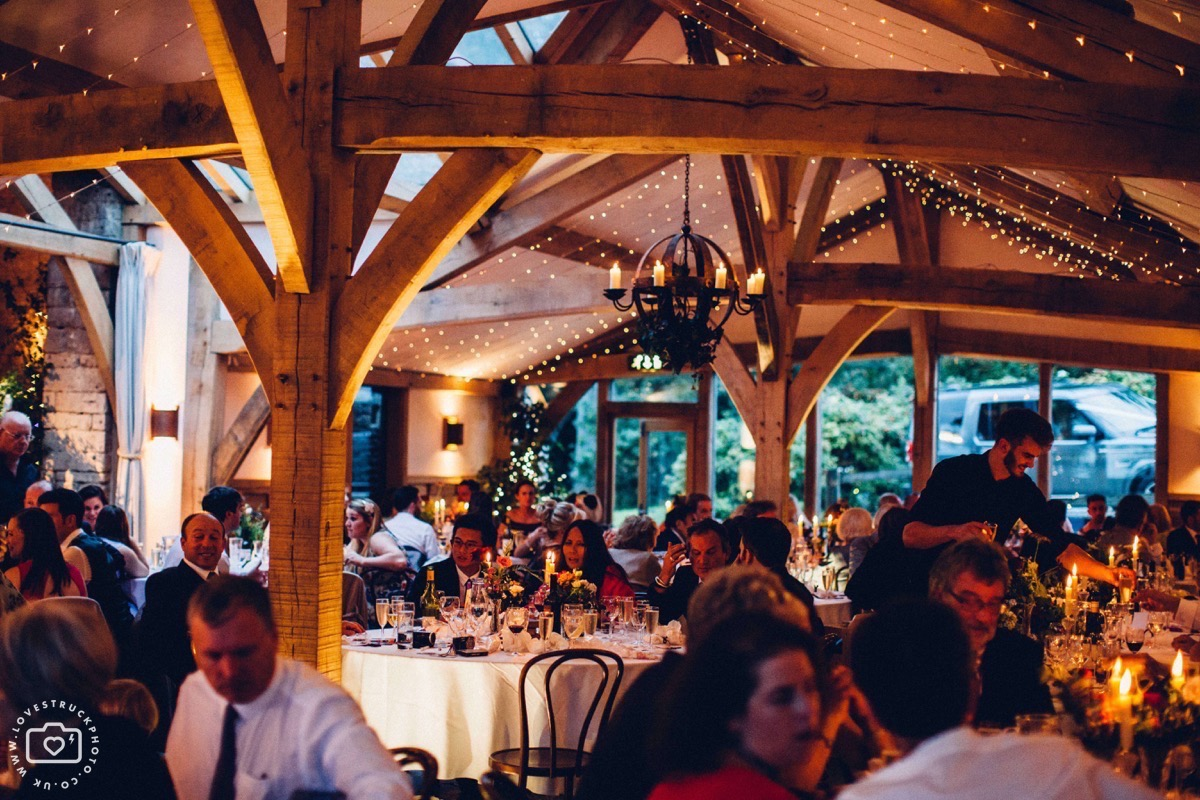 cripps barn at night, gloucestershire barn wedding