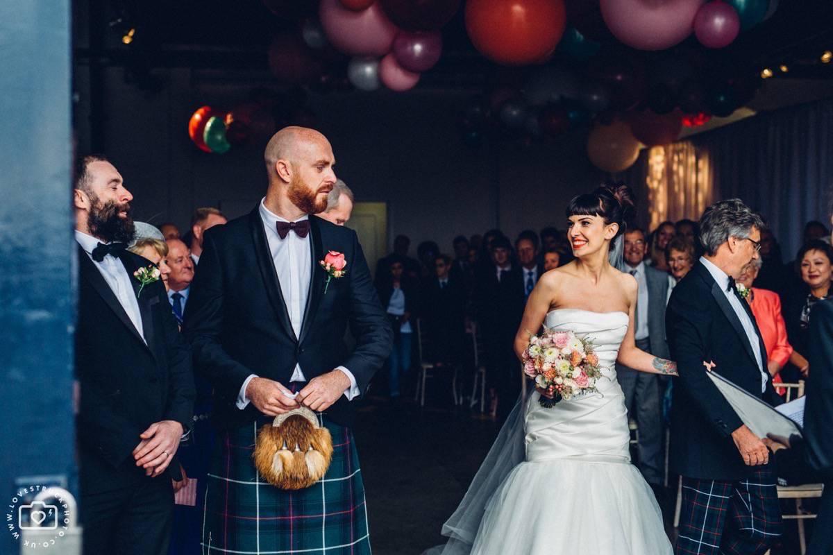 Trinity Buoy Wharf Wedding Ceremony, Industrial London Wedding, Warehouse Wedding London
