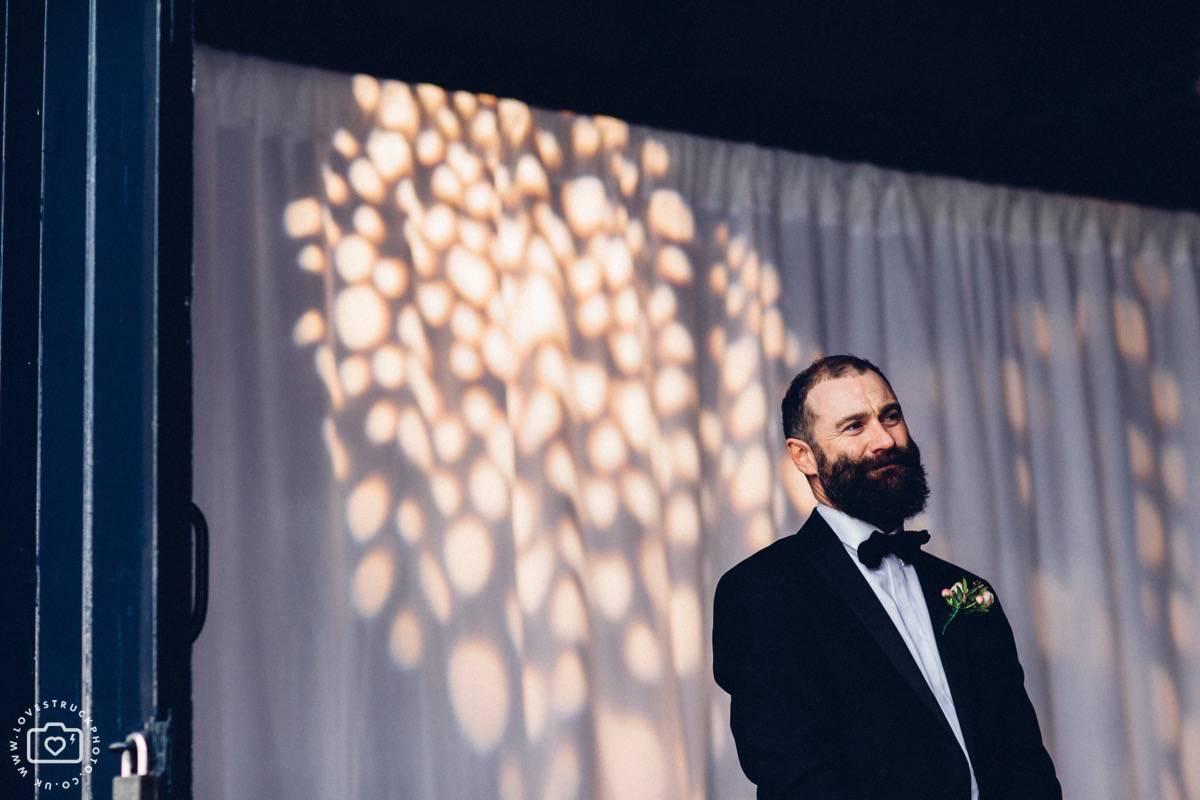 Trinity Buoy Wharf Wedding, Industrial London Wedding, Warehouse Wedding London, bearded best man