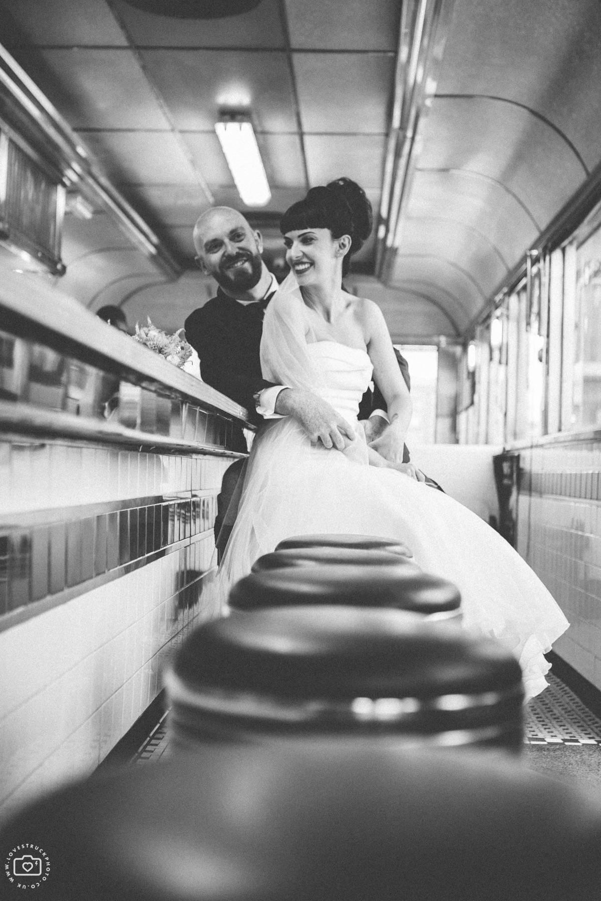 industrial wedding portraits, boho couple wedding portraits, scottish groom wedding photos, london wedding couple shots, trinity buoy wharf wedding portraits, fatboys diner wedding