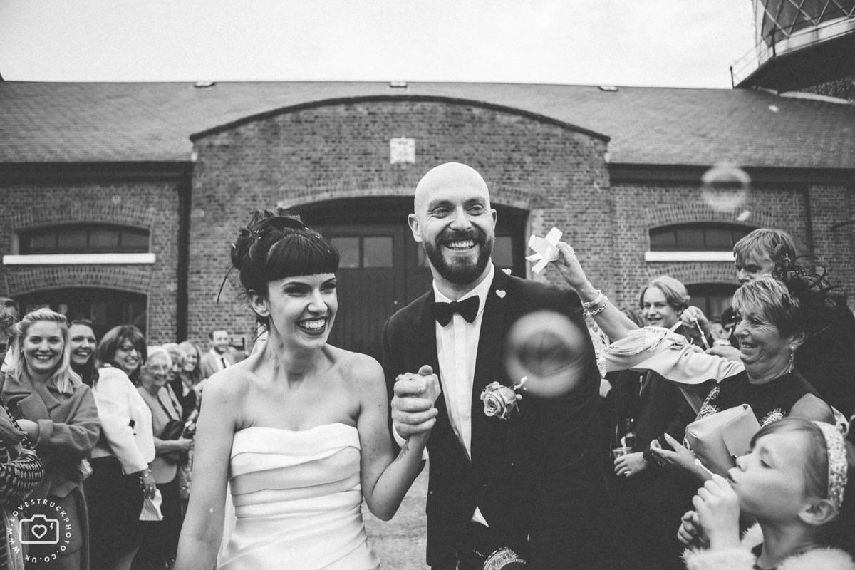 trinity buoy wedding confetti shots, docklands wedding, industrial wedding