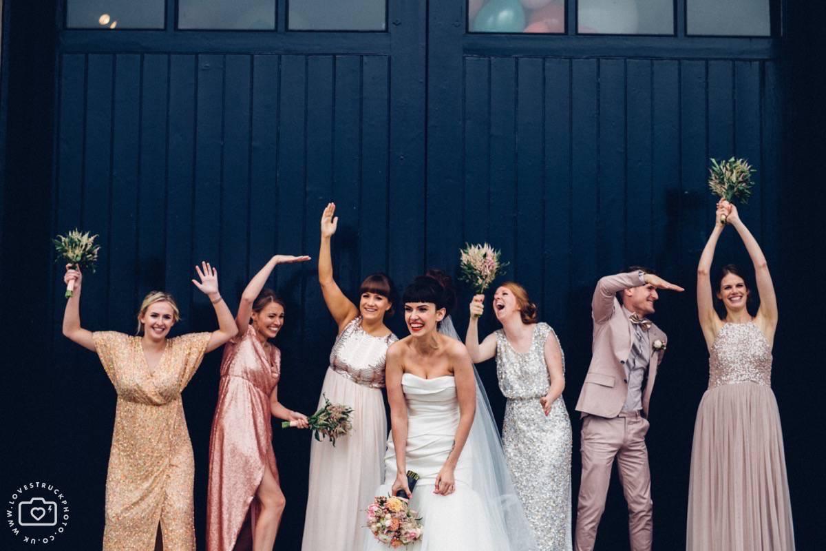 trinity buoy wharf wedding, chain and buoy store wedding reception, trinity buoy wharf bridesmaids