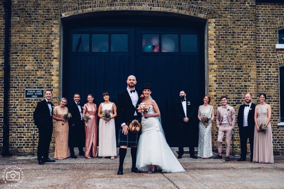 trinity buoy wharf wedding, chain and buoy store wedding reception, trinity buoy wharf groomsmen, industrial wedding bridesmaids