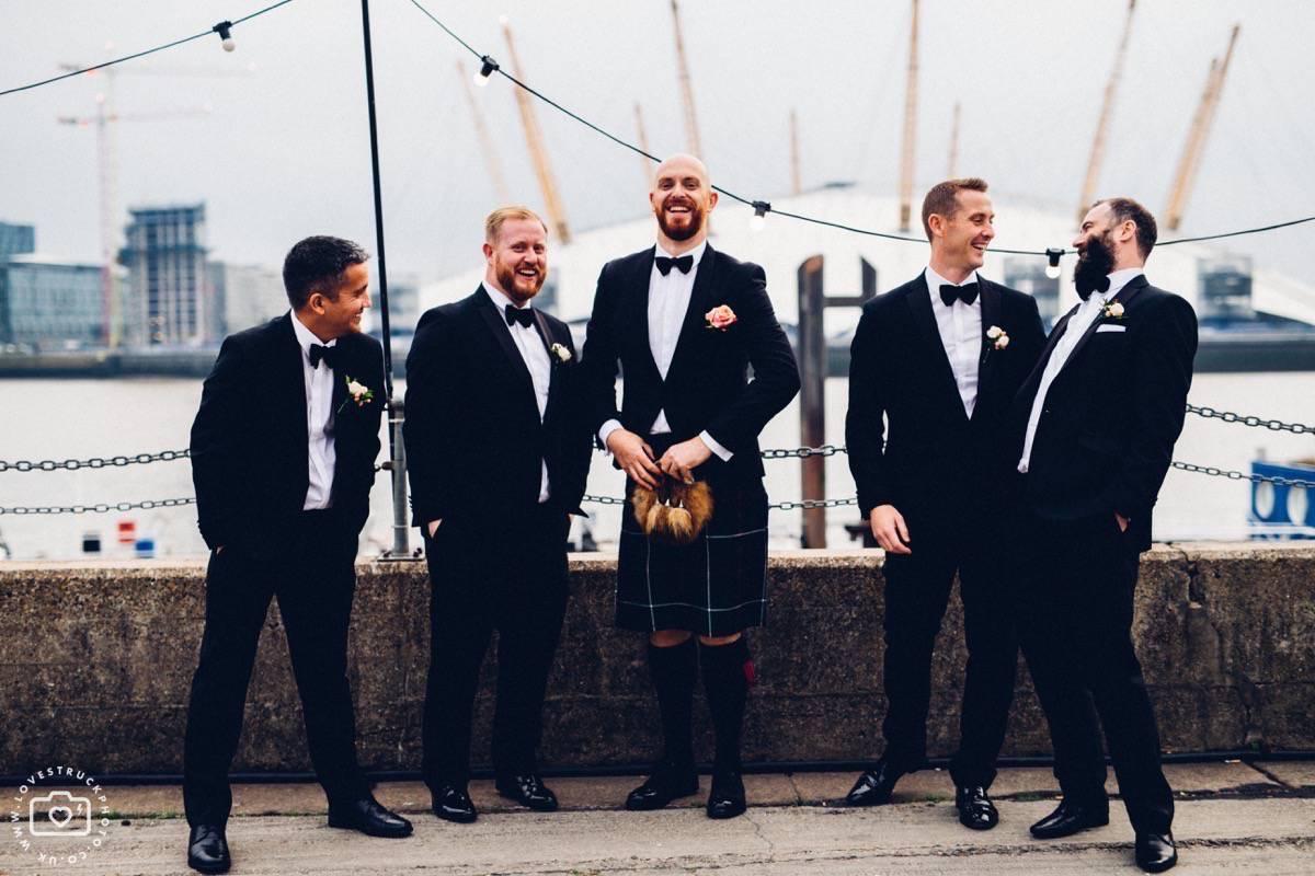 trinity buoy wharf wedding, chain and buoy store wedding reception, trinity buoy wharf groomsmen