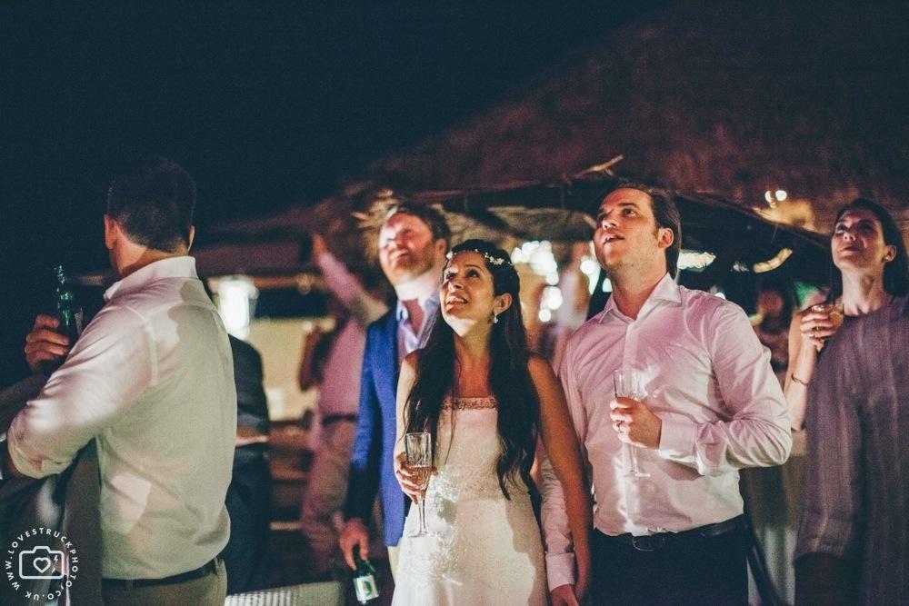 theros wave bar santorini wedding fireworks