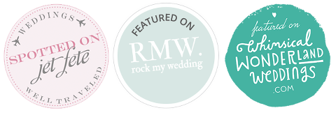 As featured on RockMyWedding, Jet Fete Wedding Blog & Whimsical Wonderland Weddings